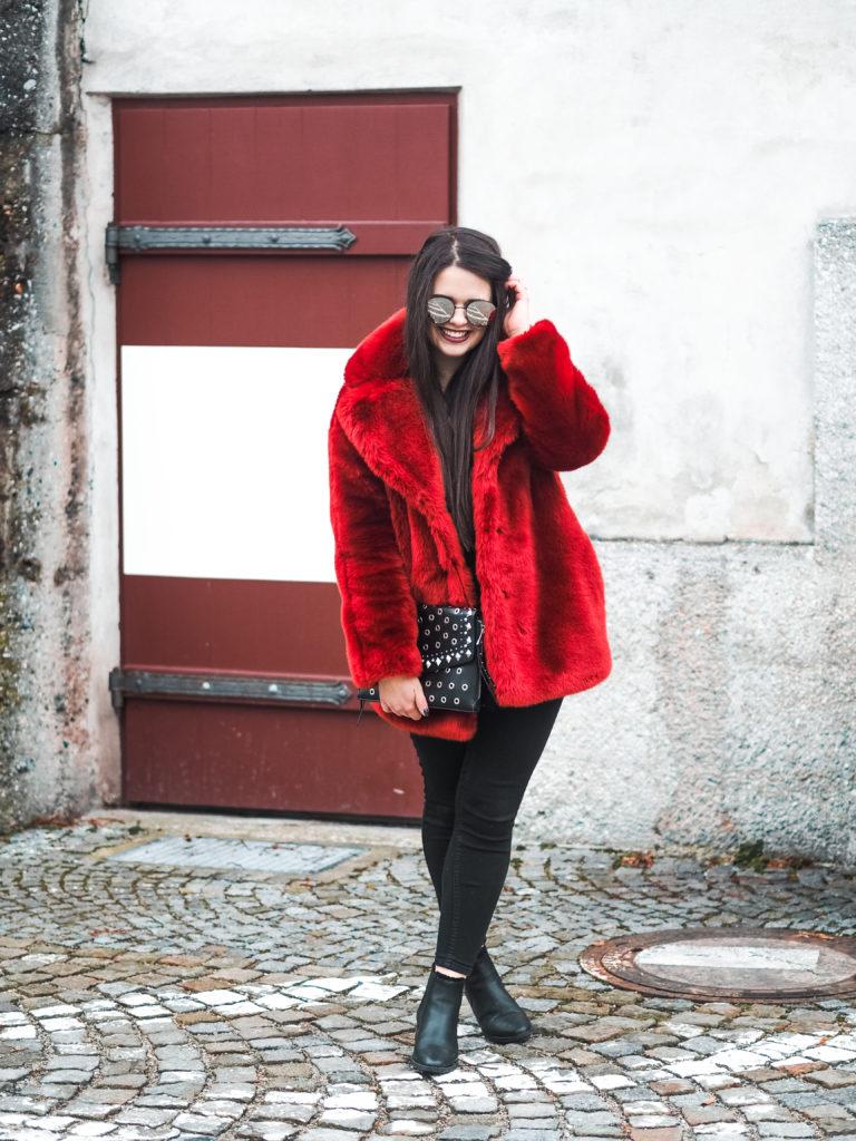 Roter Fake Fur Mantel Fulltimelifeloverblog Vorsätze 2018
